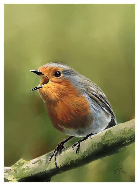 Morning Song Wall Art - Painting - Sing Red Robin Sing by Michael Greenaway