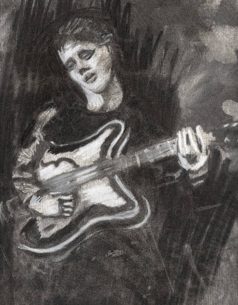 Glam Rock Drawing - Singing Sad Songs by Denny Morreale