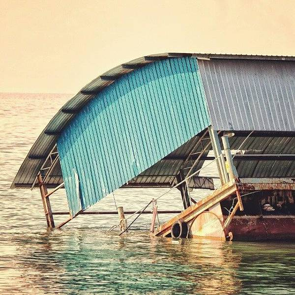 Steel Photograph - Sinking Houseboat, Lumut, Malaysia by Manan Din