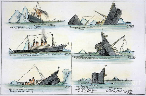 Photograph - Sinking Of The Titanic by Granger