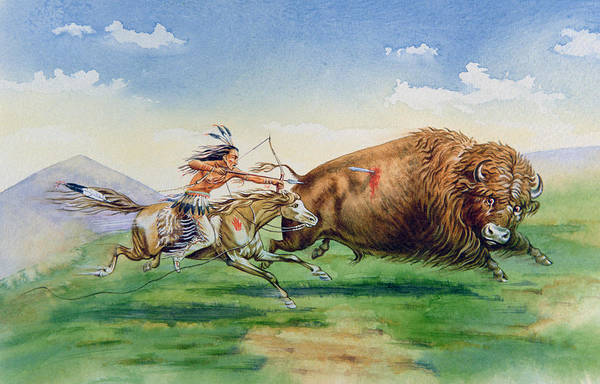 Native Headdress Painting - Sioux Hunting Buffalo On Decorated Pony by American School