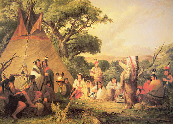 Indian Camp Painting - Sioux Indian Council by Captain Seth Eastman