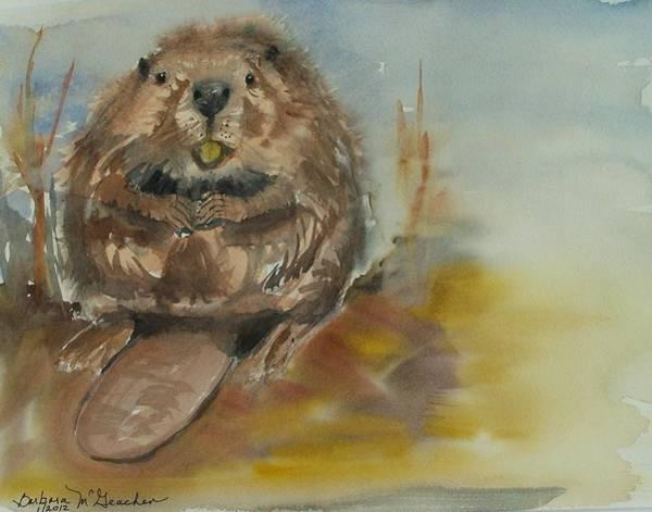 Sitting Beaver Art Print by Barbara McGeachen