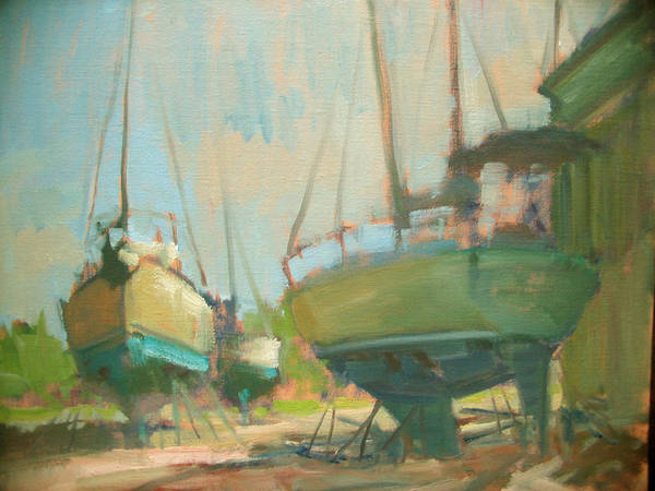 Wall Art - Painting - Sitting Dock by Berto Ortega