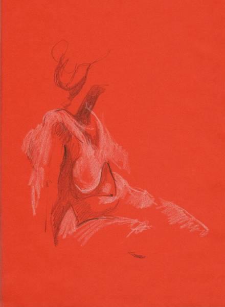Drawing - Sitting Model 1999 by Marica Ohlsson