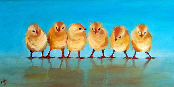 Six Painting - Six Chicks by Cari Humphry
