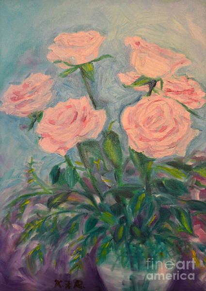 Wall Art - Painting - Six Roses by Karen Francis