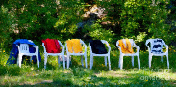 Digital Art - Six Summer Chairs by Ari Salmela