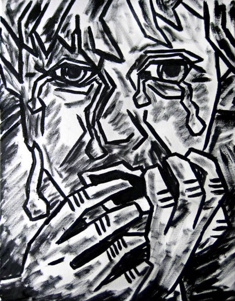 Wall Art - Painting - Sketch - Weeping Child by Kamil Swiatek