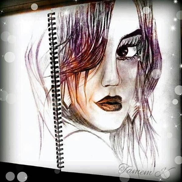 Comics Wall Art - Photograph - #sketch #girl #comic #eyes #art #lips by K H   U   R   A   M