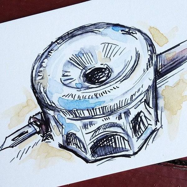 Brush Wall Art - Photograph - #sketch Of #dippen And #inkwell by Jeff Reinhardt