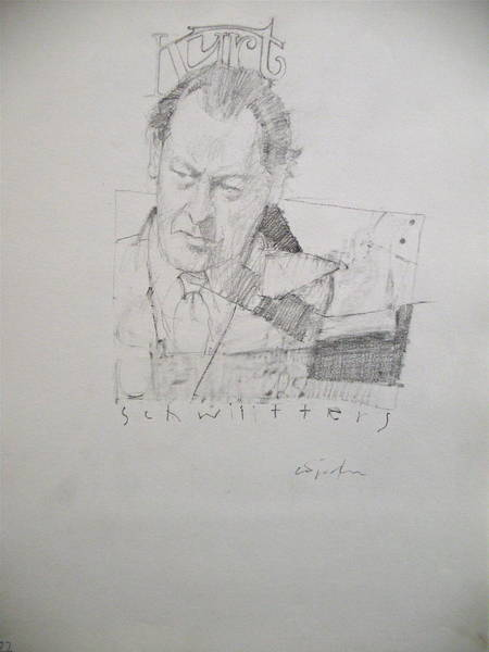 Drawing - Sketchbook 2  Pg 38  Kurt Schwitters by Cliff Spohn
