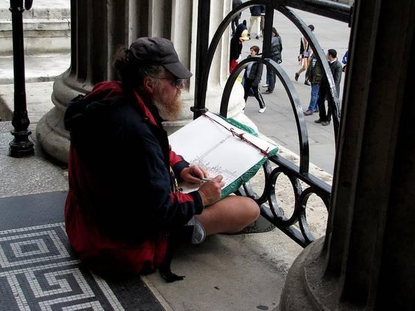 Photograph - Sketching Trafalgar Square by Keith Stokes