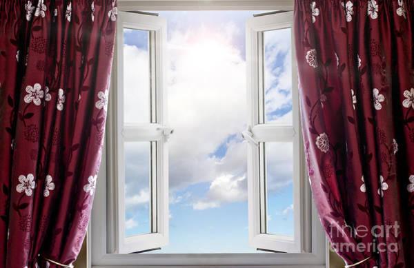Window Dressing Wall Art - Photograph - Sky View Through Open Window by Simon Bratt Photography LRPS