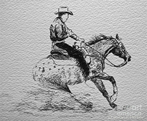 Appaloosa Drawing - Sliding Into First by Susan Herber