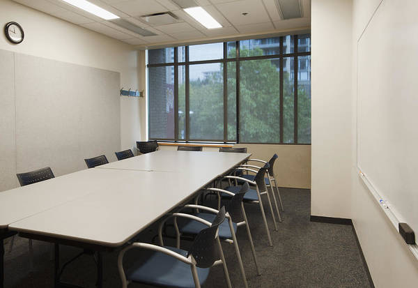 Wall Art - Photograph - Small Empty Boardroom With A Long by Marlene Ford