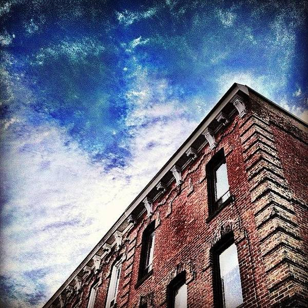 Blue Sky Photograph - Small Town Buildings by Christopher Campbell