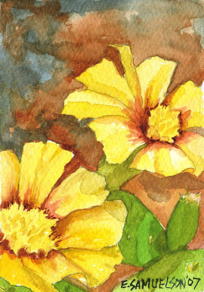 Painting - Small Yellow Flowers by Eric Samuelson