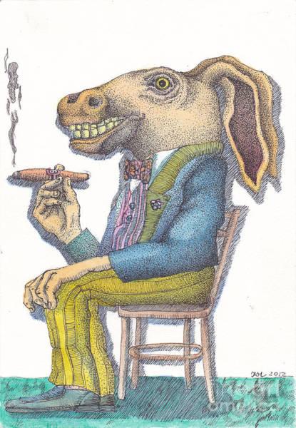 Surrealist Drawing - Smoking Horse by Kyra Munk Matustik