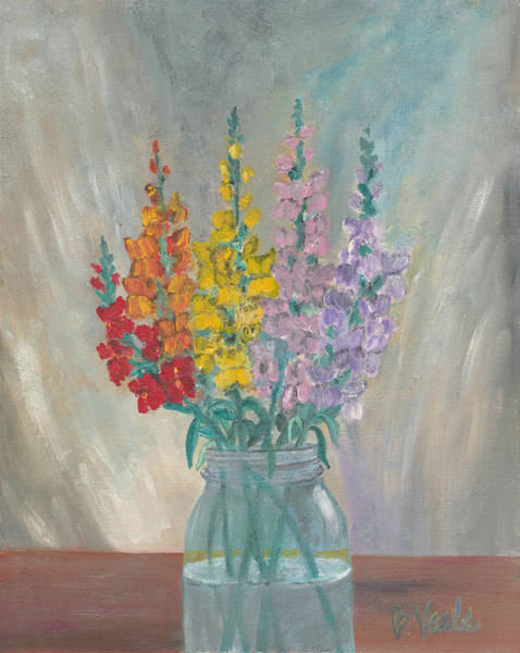 Snapdragons Painting - Snaps In A Jar by Bev Veals