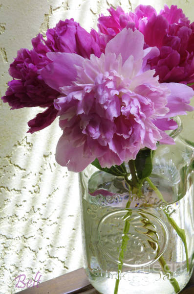 Flowers In A Vase Photograph - Snickerhaus Peonies In A Vase No.2 by Christine Belt