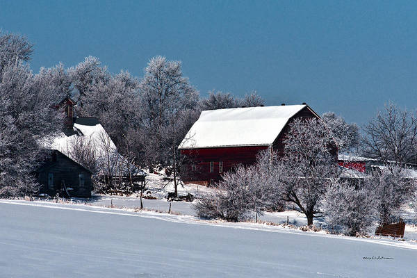 Photograph - Snow Covered Barns by Edward Peterson