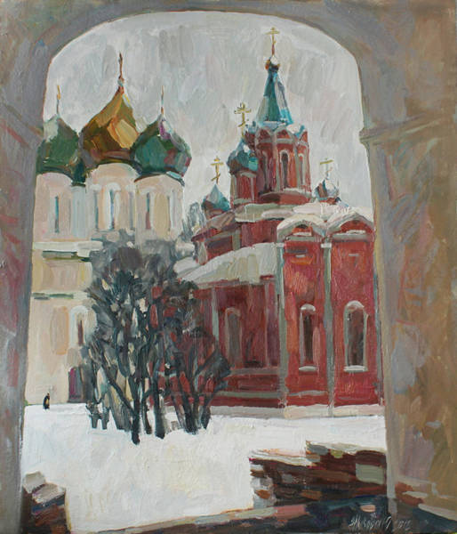 Wall Art - Painting - Snow Day In The Old Kolomna by Juliya Zhukova