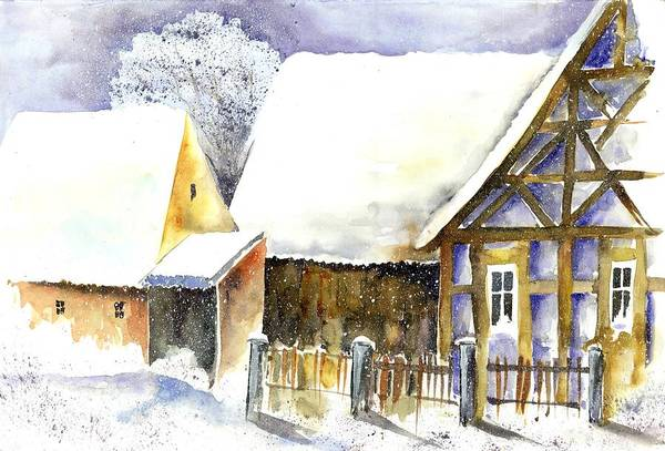 Half Timbered Painting - Snow In Germany by Jitka Krause