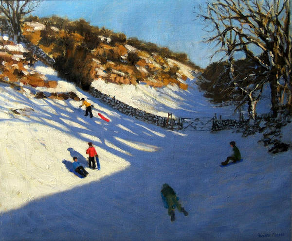 Sledge Wall Art - Painting - Snow In The Valley by Andrew Macara