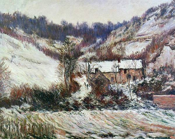 Normandy Painting - Snow Near Falaise by Claude Monet