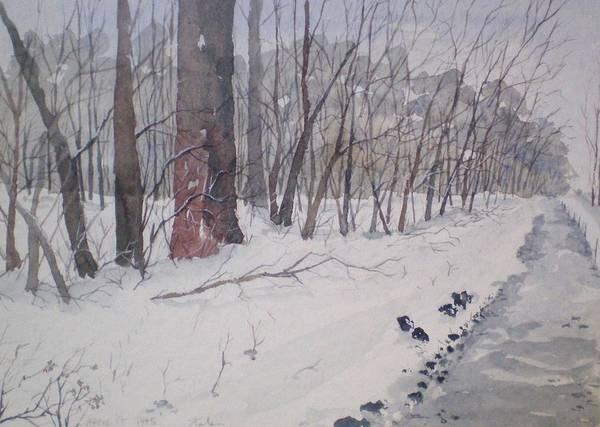 Wall Art - Painting - Snow Path by Howard Kolsin