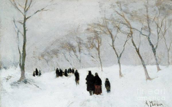 Winter Walk Painting - Snow Storm by Anton Mauve