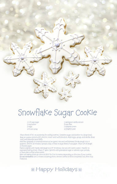 Wall Art - Photograph - Snowflake Sugar Cookies With Receipe  by Sandra Cunningham