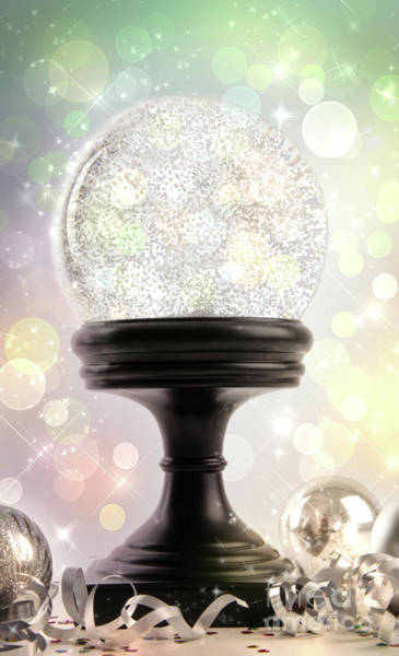 Joyous Photograph - Snowglobe With Ornaments Against Colored Background by Sandra Cunningham