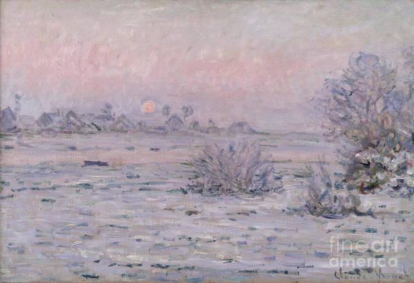 Monet Painting - Snowy Landscape At Twilight by Claude Monet