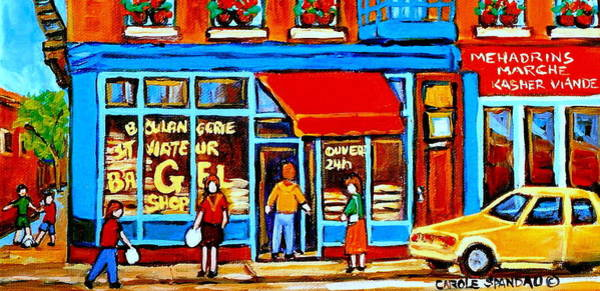 Painting - Soccer At The Bagel Shop Lane  Montreal Summer Scene by Carole Spandau