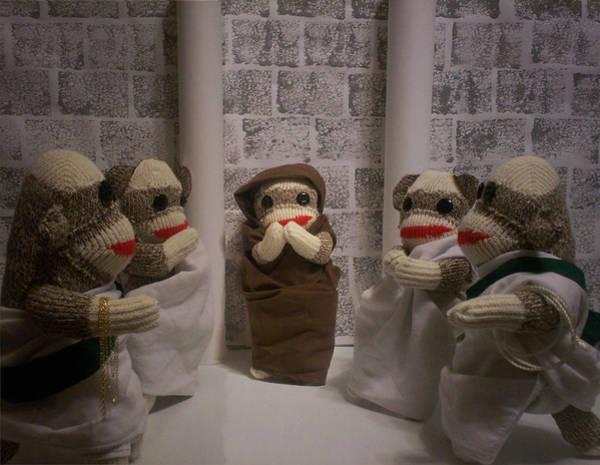 Sock Monkey Photograph - Sock Monkey Comedy Of Errors by David Jones
