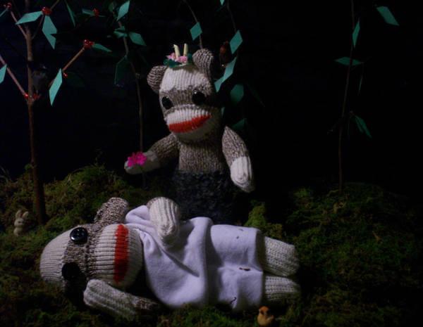 Sock Monkey Photograph - Sock Monkey Midsummer Night's Dream by David Jones