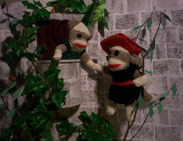 Sock Monkey Photograph - Sock Monkey Romeo And Juliet by David Jones