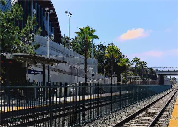 Railroad Station Painting - Solana Beach Train Station by Russ Harris