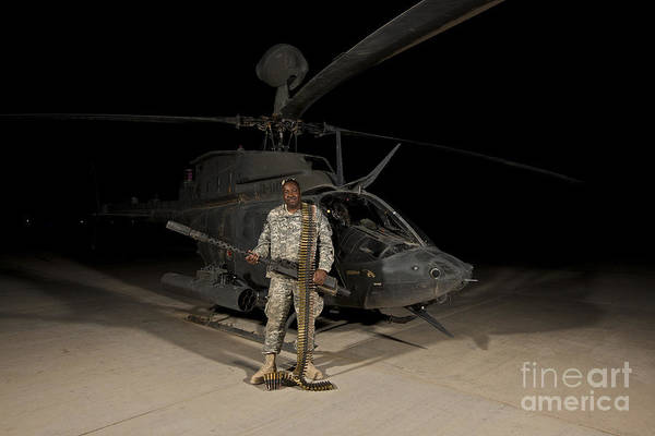 Kiowa Photograph - Soldier Holding A .50 Caliber Machine by Terry Moore