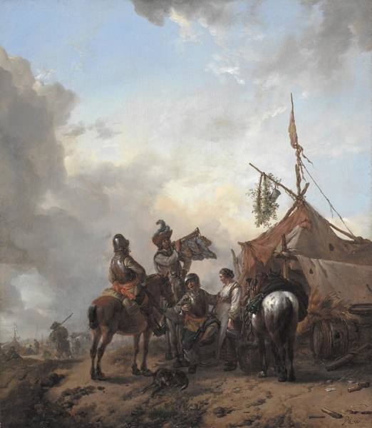 Flirtatious Painting - Soldiers Carousing With A Serving Woman Outside A Tent by Philips Wouwerman