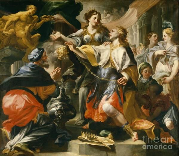 Pagan Wall Art - Painting - Solomon Worshiping The Pagan Gods by Domenico Antonio Vaccaro