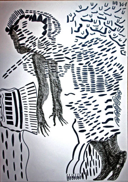 Drawing - Soukous Or Lingala Dance - Congo by Gloria Ssali