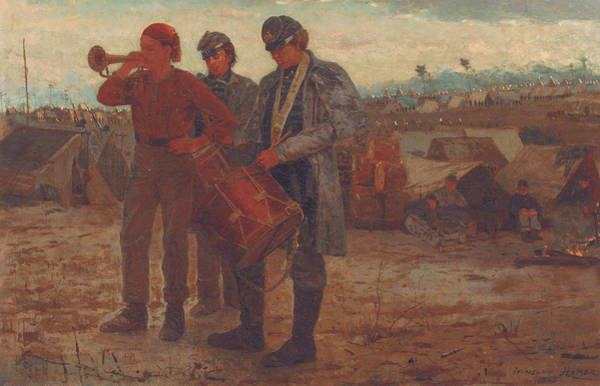 Drummer Painting - Sounding Reveille by Winslow Homer