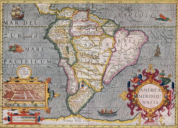 Photograph - South America, 1606 by Photo Researchers