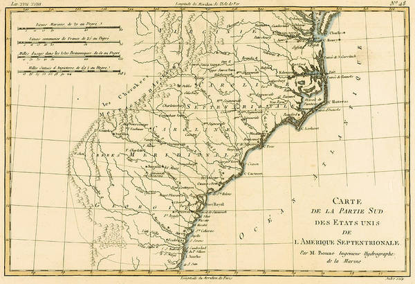 Mapping Drawing - Southeast Coast Of America by Guillaume Raynal