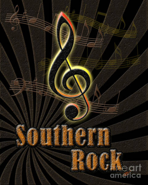 Yellow Trumpet Digital Art - Southern Rock Music Poster by Linda Seacord