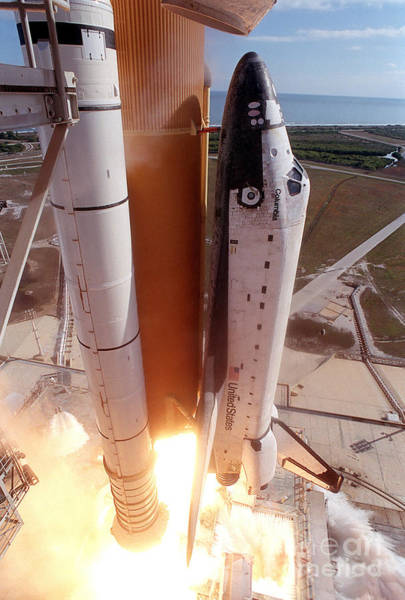 Photograph - Space Shuttle Columbia As It Lifts by Stocktrek Images