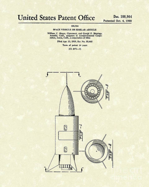 Vehicle Drawing - Space Vehicle 1960 Patent Art  by Prior Art Design